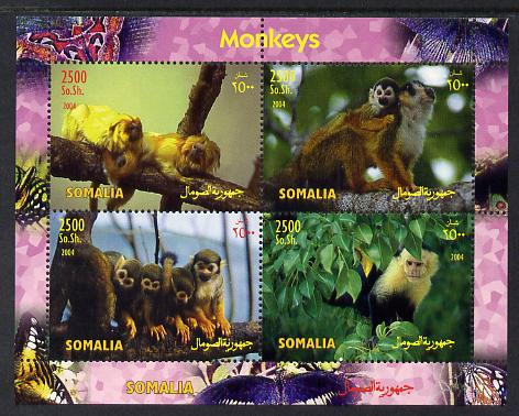 Somalia 2004 Monkeys perf sheetlet containing 4 values unmounted mint. Note this item is privately produced and is offered purely on its thematic appeal