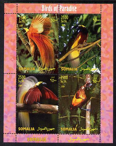 Somalia 2004 Birds of Paradise perf sheetlet containing 4 values unmounted mint. Note this item is privately produced and is offered purely on its thematic appeal, it has...