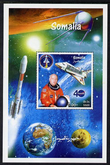 Somalia 1999 John Glenn & Space Shuttle perf m/sheet unmounted mint. Note this item is privately produced and is offered purely on its thematic appeal