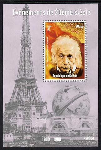Guinea - Conakry 1998 Events of the 20th Century 1900-1909 Albert Einstein perf souvenir sheet unmounted mint. Note this item is privately produced and is offered purely on its thematic appeal
