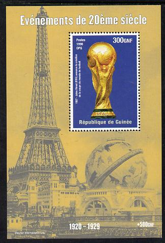 Guinea - Conakry 1998 Events of the 20th Century 1920-1929 Jules Rimet Football World Cup perf souvenir sheet unmounted mint. Note this item is privately produced and is offered purely on its thematic appeal