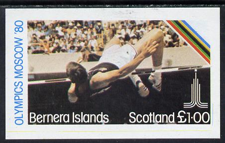 Bernera 1980 Olympic Games imperf souvenir sheet (�1 value showing High Jump) unmounted mint