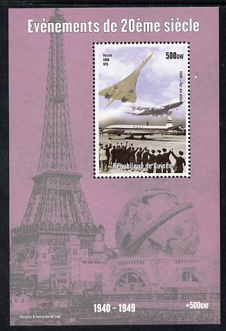 Guinea - Conakry 1998 Events of the 20th Century 1940-1949 Jet Airliners perf souvenir sheet unmounted mint. Note this item is privately produced and is offered purely on its thematic appeal