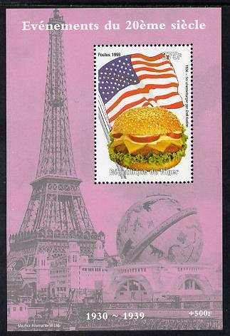 Niger Republic 1998 Events of the 20th Century 1930-1939 First Cheeseburger by Carl Kaelen perf souvenir sheet unmounted mint. Note this item is privately produced and is offered purely on its thematic appeal