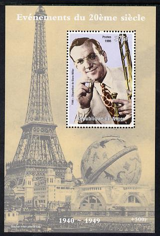 Niger Republic 1998 Events of the 20th Century 1940-1949 Glenn Miller perf souvenir sheet unmounted mint. Note this item is privately produced and is offered purely on its thematic appeal