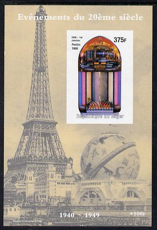 Niger Republic 1998 Events of the 20th Century 1940-1949 First Juke Box imperf souvenir sheet unmounted mint. Note this item is privately produced and is offered purely on its thematic appeal