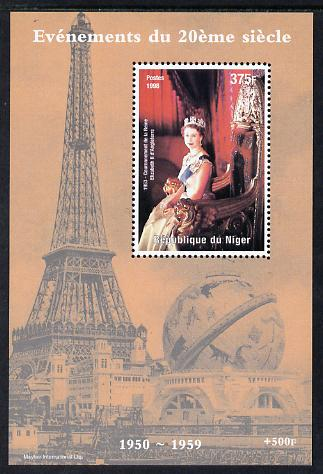 Niger Republic 1998 Events of the 20th Century 1950-1959 Coronation of Queen Elizabeth II perf souvenir sheet unmounted mint. Note this item is privately produced and is offered purely on its thematic appeal