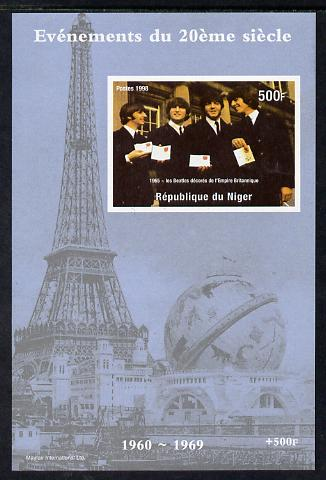 Niger Republic 1998 Events of the 20th Century 1960-1969 The Beatles receive MBE imperf souvenir sheet unmounted mint. Note this item is privately produced and is offered purely on its thematic appeal
