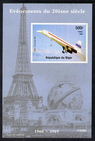 Niger Republic 1998 Events of the 20th Century 1960-1969 Concorde 002 imperf souvenir sheet unmounted mint. Note this item is privately produced and is offered purely on its thematic appeal