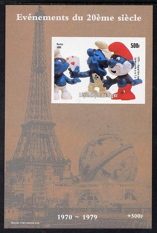 Niger Republic 1998 Events of the 20th Century 1970-1979 Appearance of the Smurfs on TV imperf souvenir sheet unmounted mint. Note this item is privately produced and is offered purely on its thematic appeal