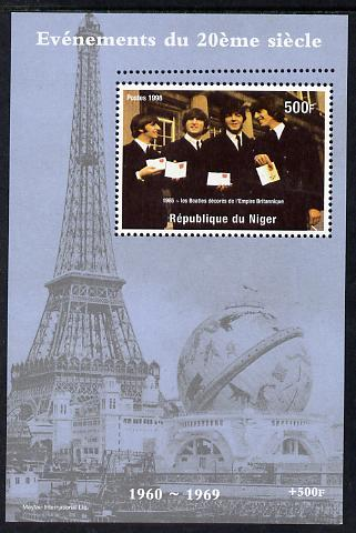 Niger Republic 1998 Events of the 20th Century 1960-1969 The Beatles receive MBE perf souvenir sheet with additional row of perforations at top unmounted mint