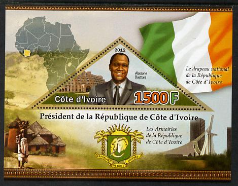 Ivory Coast 2012 President Alassane Ouattara perf m/sheet containing triangular shaped 1500F value unmounted mint