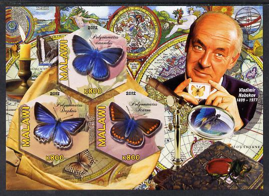 Malawi 2012 Butterflies & Entomologists - Vladimir Nabokov imperf sheetlet containing 3 hexagonal shaped values unmounted mint