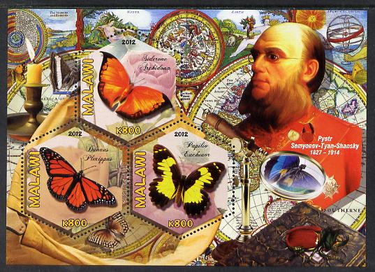 Malawi 2012 Butterflies & Entomologists - Pyotr Semyonov Tyan Shansky perf sheetlet containing 3 hexagonal shaped values unmounted mint