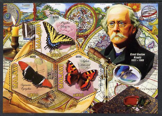 Malawi 2012 Butterflies & Entomologists - Ernst Gustav Kraatz perf sheetlet containing 3 hexagonal shaped values unmounted mint