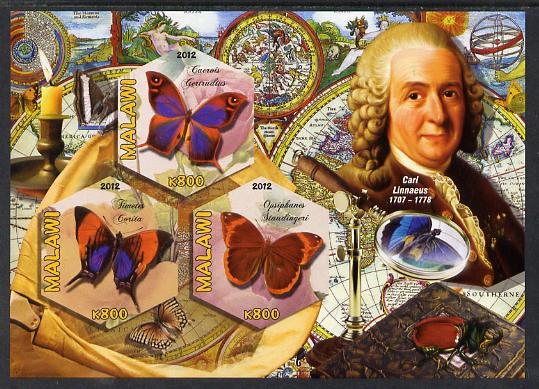 Malawi 2012 Butterflies & Entomologists - Carl Linnaeus imperf sheetlet containing 3 hexagonal shaped values unmounted mint