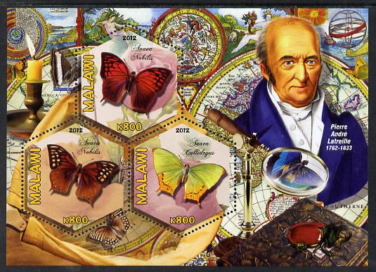 Malawi 2012 Butterflies & Entomologists - Pierre Andre Latreille perf sheetlet containing 3 hexagonal shaped values unmounted mint