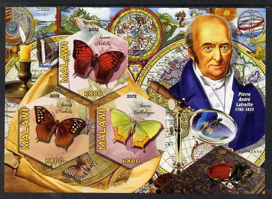 Malawi 2012 Butterflies & Entomologists - Pierre Andre Latreille imperf sheetlet containing 3 hexagonal shaped values unmounted mint