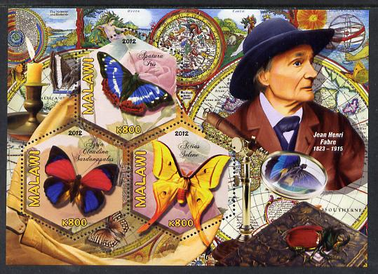 Malawi 2012 Butterflies & Entomologists - Jean Henri Fabre perf sheetlet containing 3 hexagonal shaped values unmounted mint