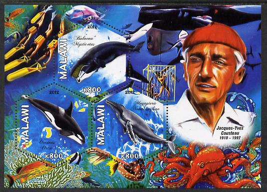 Malawi 2012 Jacques Yves Cousteau perf sheetlet containing 3 hexagonal shaped values unmounted mint