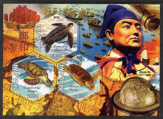 Malawi 2012 Zheng He perf sheetlet containing 3 hexagonal shaped values unmounted mint