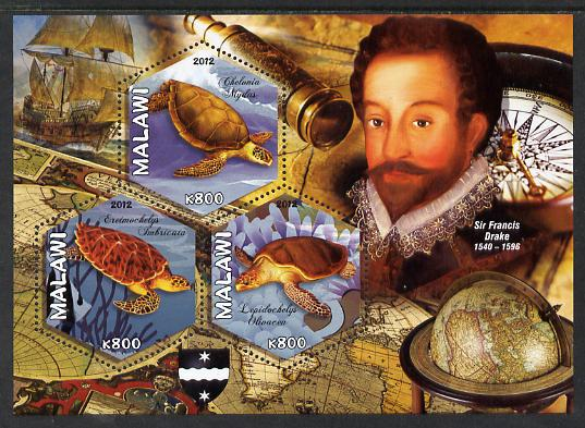 Malawi 2012 Sir Francis Drake perf sheetlet containing 3 hexagonal shaped values unmounted mint