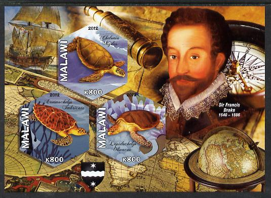 Malawi 2012 Sir Francis Drake imperf sheetlet containing 3 hexagonal shaped values unmounted mint