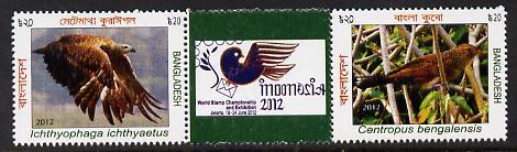 Bangladesh 2012 World Stamp Championships - Birds strip of 2 plus label unmounted mint