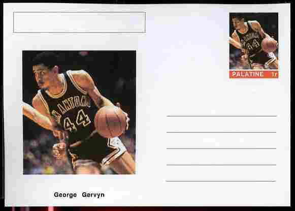 Palatine (Fantasy) Personalities - George Gervyn (basketball) postal stationery card unused and fine