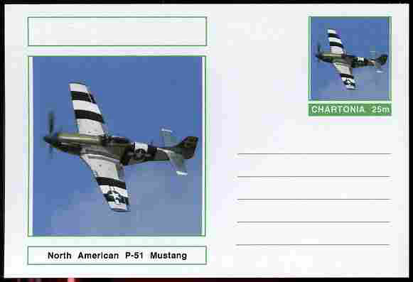 Chartonia (Fantasy) Aircraft - North American P-51 Mustang postal stationery card unused and fine