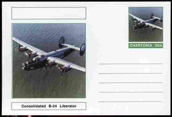 Chartonia (Fantasy) Aircraft - Consolidated B-24 Liberator postal stationery card unused and fine