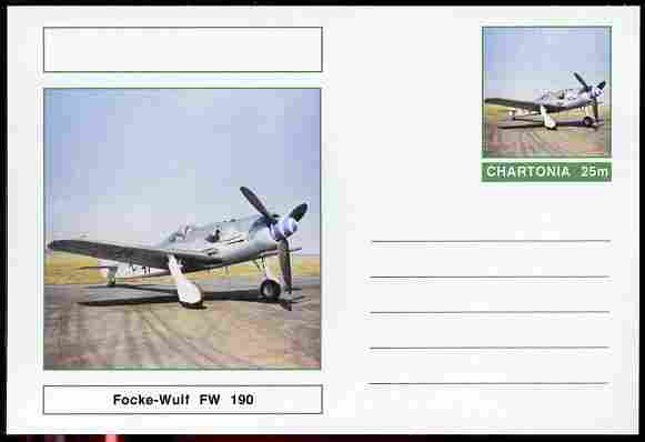 Chartonia (Fantasy) Aircraft - Focke-Wulf FW-190 postal stationery card unused and fine