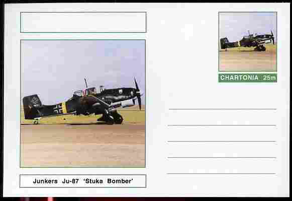 Chartonia (Fantasy) Aircraft - Junkers Ju-87 Stuka Bomber postal stationery card unused and fine