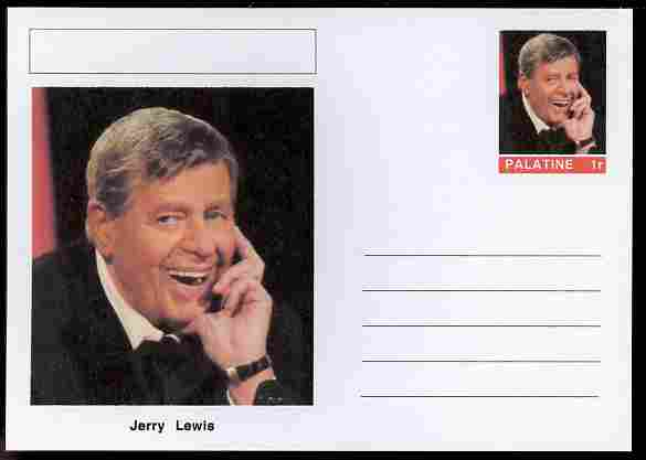 Palatine (Fantasy) Personalities - Jerry Lewis (comic actor) postal stationery card unused and fine