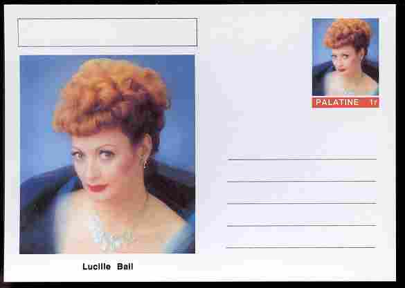 Palatine (Fantasy) Personalities - Lucille Ball (comic actress) postal stationery card unused and fine