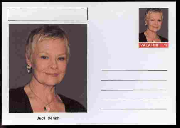 Palatine (Fantasy) Personalities - Judi Dench (actress) postal stationery card unused and fine