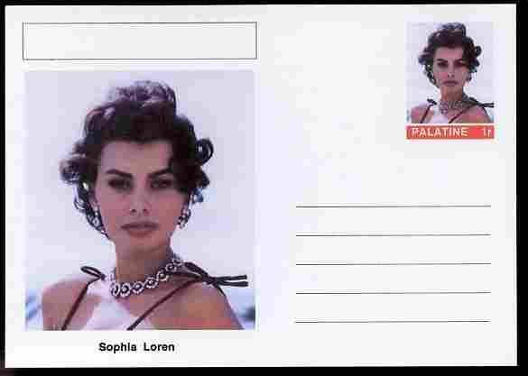 Palatine (Fantasy) Personalities - Sophia Loren (actress) postal stationery card unused and fine