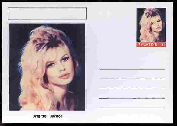 Palatine (Fantasy) Personalities - Brigitte Bardot (actress) postal stationery card unused and fine
