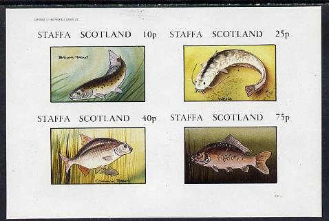 Staffa 1982 Fish #09 (Trout, Bream, etc) imperf  set of 4 values (10p to 75p) unmounted mint