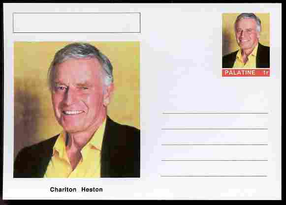 Palatine (Fantasy) Personalities - Charlton Heston (actor) postal stationery card unused and fine, stamps on personalities, stamps on films, stamps on cinema, stamps on movies, stamps on