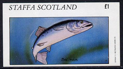 Staffa 1982 Fish #09 (Salmon) imperf souvenir sheet (�1 value)  unmounted mint