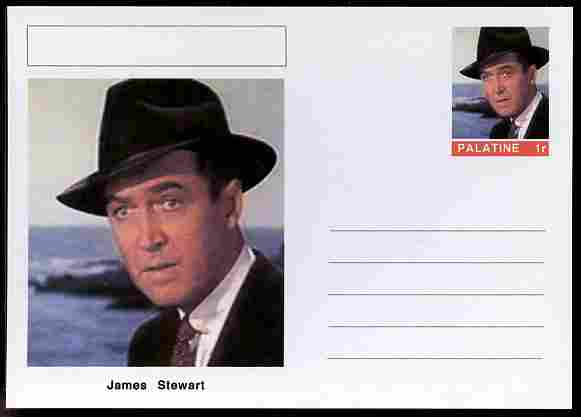 Palatine (Fantasy) Personalities - James Stewart (actor) postal stationery card unused and fine