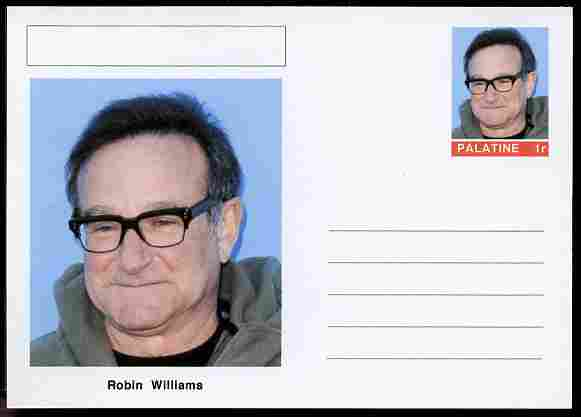 Palatine (Fantasy) Personalities - Robin Williams (comic actor) postal stationery card unused and fine