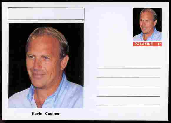 Palatine (Fantasy) Personalities - Kevin Costner (actor) postal stationery card unused and fine