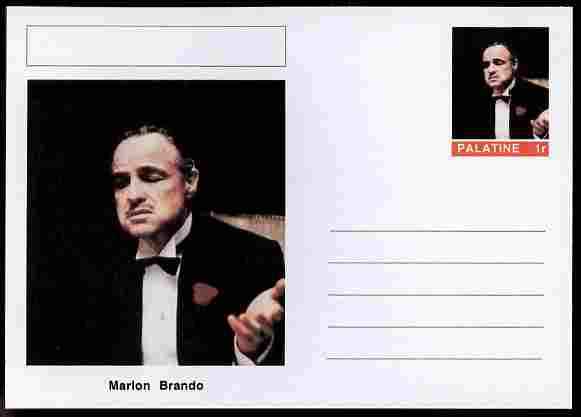 Palatine (Fantasy) Personalities - Marlon Brando (actor) postal stationery card unused and fine