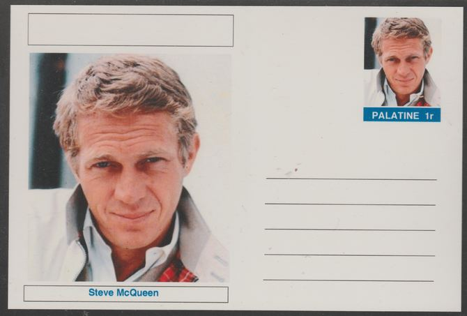 Palatine (Fantasy) Personalities - Steve McQueen (actor) postal stationery card unused and fine