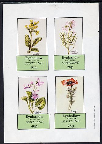 Eynhallow 1981 Flowers #02 (Cowslip, Lady's Smock, violet & Poppy) imperf  set of 4 values (10p to 75p) unmounted mint