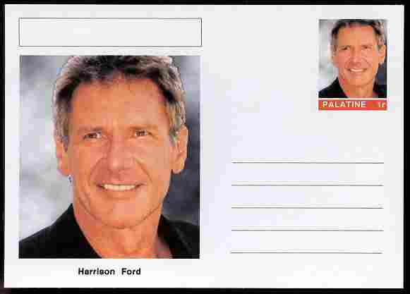 Palatine (Fantasy) Personalities - Harrison Ford (actor) postal stationery card unused and fine