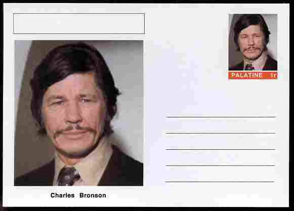 Palatine (Fantasy) Personalities - Charles Bronson (actor) postal stationery card unused and fine, stamps on personalities, stamps on films, stamps on cinema, stamps on movies, stamps on