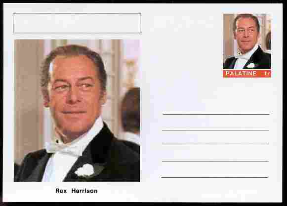 Palatine (Fantasy) Personalities - Rex Harrison (actor) postal stationery card unused and fine